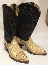 US-Made IMPERIAL Men's Size 8.5-9 HeadCut Cobra Snakeskin Leather Cowboy Boots