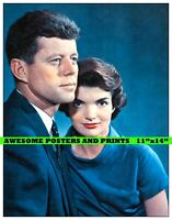 "Rare, US President JOHN F. KENNEDY & Wife Jacqueline Photograph REPRINT 11""x14"""