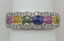 14K WHITE GOLD GENUINE MULTI COLOR SAPPHIRE AND DIAMOND RING SZ. 6.5