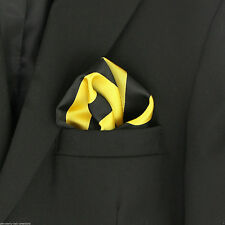 Gold & Black Striped Mens Suit Pocket Square Stripes Handkerchief Poly Hanky New