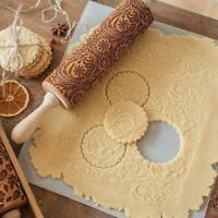 Embossed Rolling Food Grade Roller Engraved Wooden Pin Baking Cookies Cake35*5cm