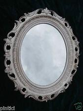 Espejo de Pared Barroco Oval Antiguo Plata Espejo de baño 58x68 Pasillo Shabby