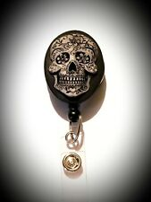 Black PaintedNeon Sugar Skull Badge Holder Retractable ID Card Lanyard punkart