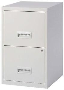 2 Drawer A4 Metal Steel Lockable Filing Draw Cabinet - Grey 650H x 400Wx 400D mm