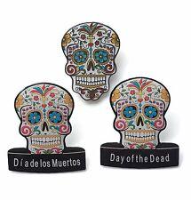 3 x Day of the Dead (Dia de los Muertos) Candy Mask Lapel Pin Badges (C9)