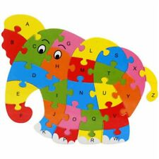 1 PCS Wooden Animal Alphabet Puzzle Toys for Boys & Girls Ages 3+ in Elephant