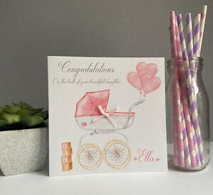 New Baby Girl Card Personalised Handmade Congratulations Pram Gift New Parents