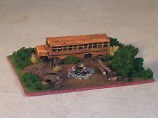 N Scale Railroad Trackside Abandon Large Size School Bus Hobo Camp