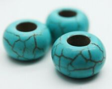 4 Pcs - Synthetic Turquoise with Large Hole / Macrame Supplies