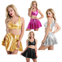 2Piece Womens Patent Leather Wetlook T-shirt Crop Top Skirt Fancy Dress Clubwear