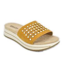 Sandalo ciabatta donna IGI&CO Zeppa media comoda scamosciato giallo - 3169644