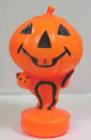 Vtg Halloween Plastic Blow Mold Light JOL Over Black Striped Cat Cord Included