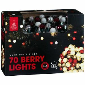 70Pcs Warm White & Red Berry Ultra Bright LED Lights Ideal Xmas Tree Decoration