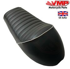 Cafe Racer Brat Motorcycle Humped Seat Leatherette Black White Piping