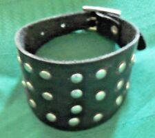 Black Leather Chrome Studded Wristband Bracelet Mens/Ladies Adjustable New