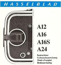 Instruction Gebrauchsanweisung Hasselblad for Roll film Magazin A12 A16 A16S A24