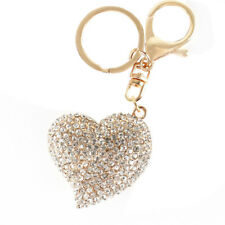 Sweet Peach Heart Crystal Charm Pendant Purse Bag Key Ring Chain Creative Gift