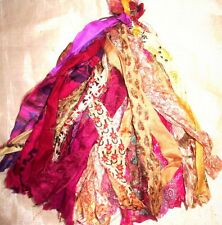 LOT PURE SILK Antique Vintage Sari TASSELS JOURNAL 50 STRAND Magenta CREAM
