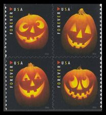 US 5140a Halloween Jack-O'-Lanterns forever block set (4 stamps) MNH 2016
