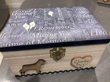 DOG PET IN LOVING MEMORY WOODEN KEEPSAKE MEMORY BOX ASHES PERSONALISED GIFT