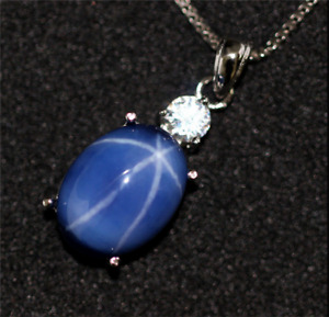 Top Quality Oval Cut Blue Star Sapphire sterling silver Pendant Necklace 10x12mm