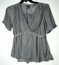 GREY LADIES FORMAL PARTY TOP BLOUSE SIZE 10/38 H&M