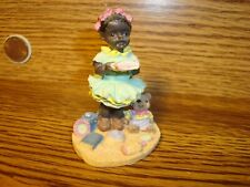 """Vintage Black African American Resin Figurine """" Young Black Girl Reading Book"""