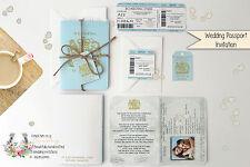 x1 Passport style Travel Wedding/Birthday/Baby Shower Invitation and RSVP set
