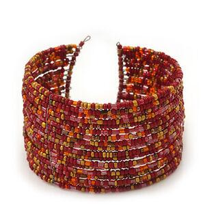 Boho Red/Gold/Orange Glass Bead Cuff Bracelet - Adjustable (To All Sizes)