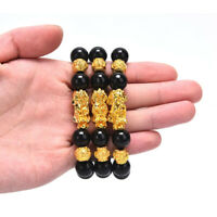 Feng Shui Armband Glück Reichtum Buddha Schwarzer Obsidian Stein Perlen ArmbaXUI