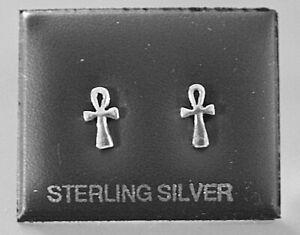 STERLING SILVER 925, STUD EARRINGS  ANKH CROSS WITH BUTTERFLY BACKS  STUD 173