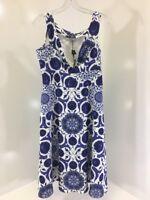 BOOHOO PLUS WOMEN'S LEAH FLORAL BARDOT MIDI DRESS BLUE VIOLET/WHT UK18/US14 NWT
