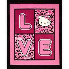HELLO KITTY FABRIC PANEL BABY QUILT top HELLO KITTY CHEETAH LOVE CP47515   NEW