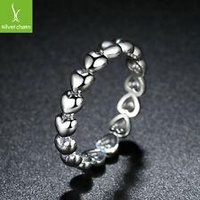 Romantic 925 Love Heart to Heart Finger Ring For Women & Female Gift Ring Size 7