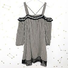 Anthropologie Dress Size Small S Black White Striped Cold Shoulder Embroidered