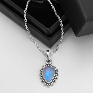Beautiful Moonstone Pear Cut Sterling Silver 925 Pendant Necklace Jewellery Gift