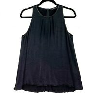 CUE Women's Size 10 Black Sleeveless Textured Loose Fitting A-Line Blouse Top