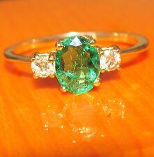 SPLENDIDA di seconda mano 18ct Oro Giallo Smeraldo & Diamanti Anello Taglia l1/2