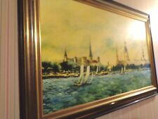 Vtg 1960's Artist Ted Sizemore Framed Oil Painting Riga Latvia Castle Daugava