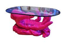 Ovaler Glastisch Couchtisch Handtisch Wohnzimmertisch Designertisch Pink Rosa