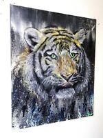 Peinture animalière surréaliste huile sur toile année 2018 format 54/65 cm