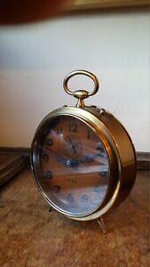 ANTIQUE 1920'S ART DECO LARGE BRASS DRUM ALARM CLOCK - REPEAT 1699
