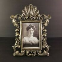 Vintage Pewter Picture Frame Rococo Scroll Swirl Chunky Heavy 11in