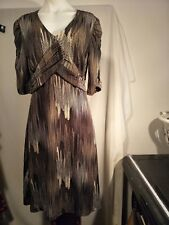 Liz Jordan Ladies Stretch Dress in a Multi-coloured Abstract Print Size M -BNWTO