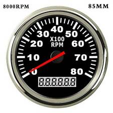85mm 8000 RPM 12V/24V Marine Tachometer Boat Tacho Meter Gauge LCD Hourmeter