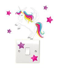 Unicorn & Stars Light Switch Wall Stickers Children's Girls Bedroom Nursery Fun