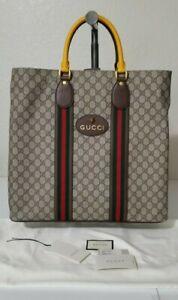 GUCCI GG Supreme Beige/Ebony Shopping Bag Tote 473870 K9RJT
