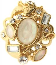 £40 Baroque Gothic Gold Cream Skull Adjustable Ring Swarovski Elements Crystal