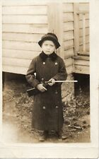 Vintage Photograph Postcard RPPC Child in Long Coat and Hat with Gun 1920s AZO