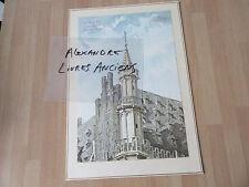 GRAVURE 1890 hotel de ville bruxelles tourelle  BELGIQUE